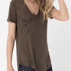 NWT Z Supply faux suede pocket tee v neck shirt